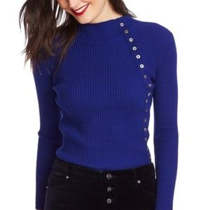 Court and Rowe Button Detail Ribbed Blue Sweater